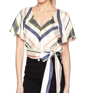 New Parker  Claire Striped Multi Crop Top Blouse